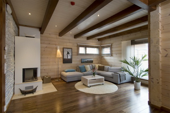 фото оформления деревянного потолка