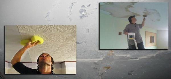 Как убрать пятна на потолке