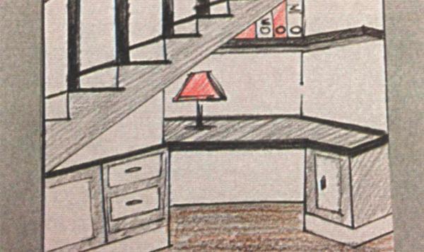 Рабочий кабинет под лестницей