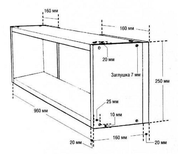 Схема изготовления простой деревянной полки для книг