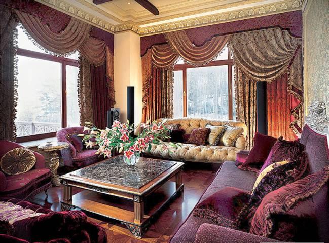 шторы в интерьере стиля барокко