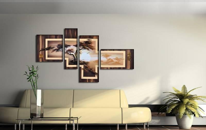 Модульные картины в интерьер гостиной