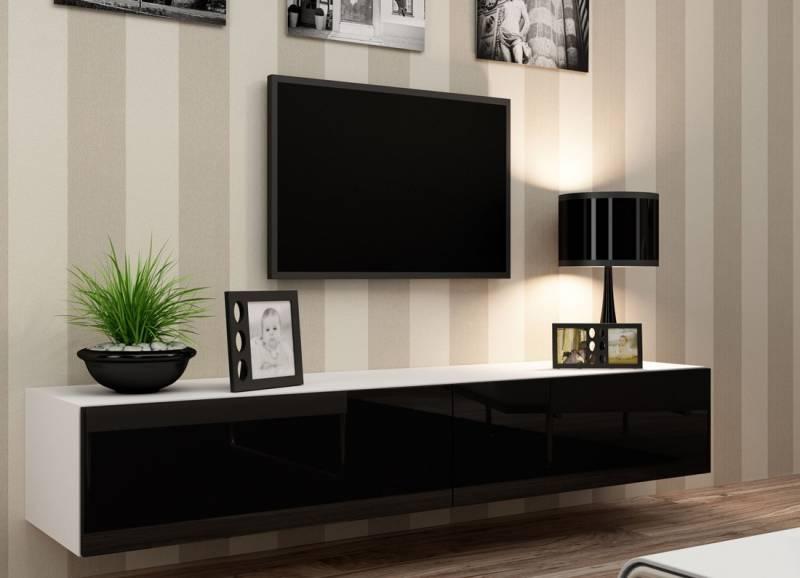 Подвесная тумба под телевизор в современном стиле