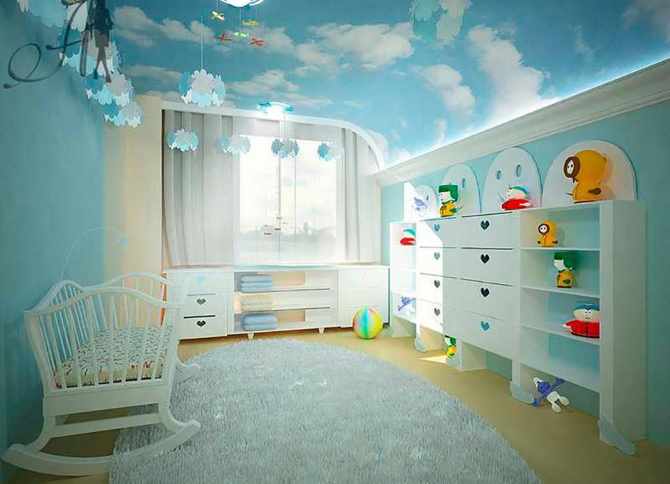Натяжной потолок-спайка с фотопечатью в детскую