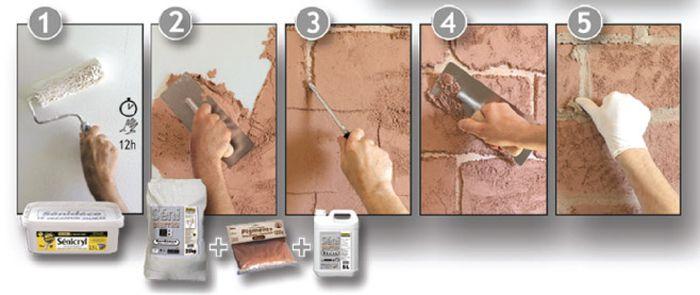 Как сделать на стене кирпичики