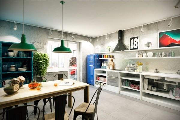 Декор и мебель в кухнях стиля лофт