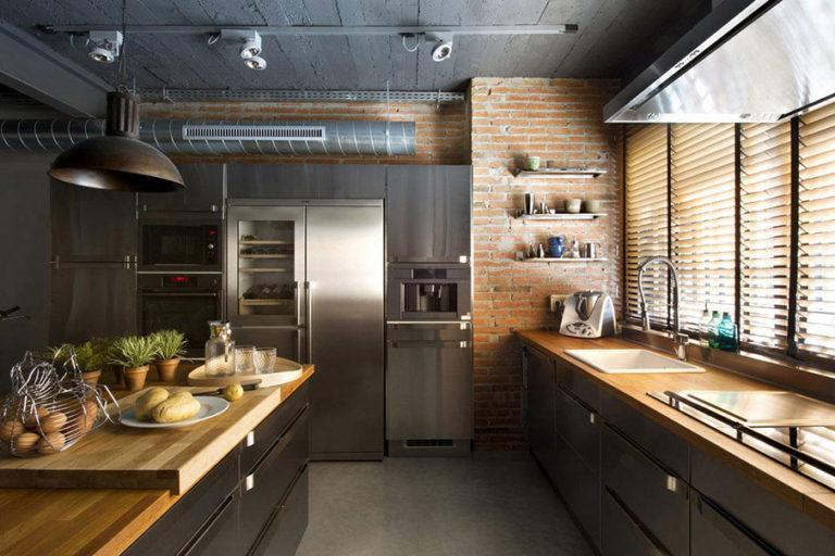Оригинальный стиль Лофт для кухни