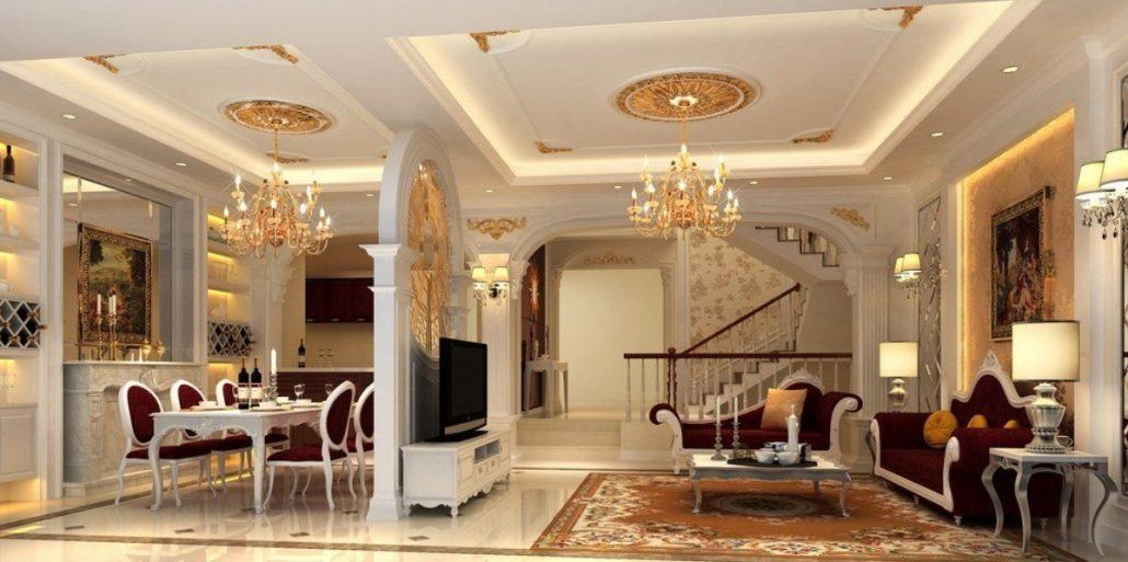Ретро стиль в гостиной и натяжные потолки